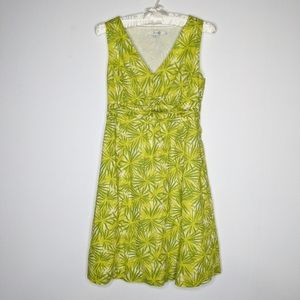 Boden green & yellow retro v neck dress 2P
